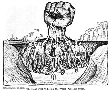 """The hand that will rule the World"" - black and white cartoon showing workers uniting with raised hands, which meld together to become one large raised fist"