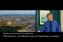 "the left image is of 500 mountains removed in Appalachia, the right image is of an economist subtitled saying ""self interest...an effective way of organizing a society"""